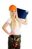 Frau und Werkzeugkasten Lizenzfreie Stockfotos