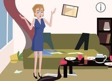 Frau am unordentlichen Raum Lizenzfreie Stockbilder
