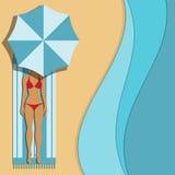 Frau unter einem Regenschirm lizenzfreie abbildung
