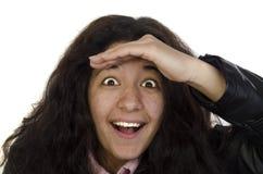 Frau untersucht das entfernte stockfoto