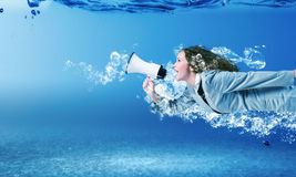 Frau Unterwasser Lizenzfreies Stockfoto