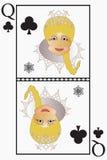 Frau Vektor Weihnachtsmann - ist Spielkarte Königin von Clubs, Eicheln Stockfoto