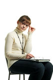 Frau versucht ein Gläser Lizenzfreie Stockfotos