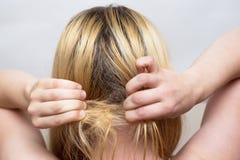 Frau versucht, einen Haarbüschel zu entwirren lizenzfreies stockfoto