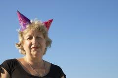 Frau von der birhtday Party Stockbilder