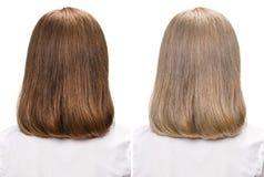 Frau vor und nach färbenden Haaren Stockbilder