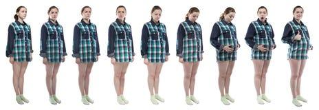 Frau während der Schwangerschaft mit verschiedenen Gefühlen Lizenzfreie Stockfotografie