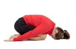 Frau während des Yoga Stockbild