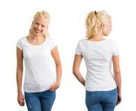 Frau in weißem Rundhalsausschnitt T-Shirt Stockbild