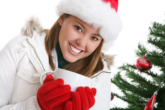 Frau am Weihnachten mit Kaffee lizenzfreies stockbild