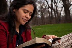 Frau, welche die Bibel studiert Lizenzfreie Stockfotos