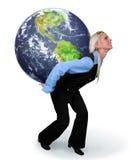 Frau, welche die Erde anhält lizenzfreie stockfotografie