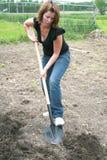 Frau, welche die Erde gräbt stockbild