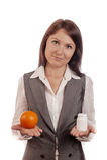 Vergleichen der Frucht, orange mit Medizin Lizenzfreies Stockfoto
