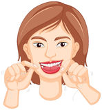 Frau, welche die Zähne flossing ist vektor abbildung