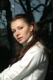 Frau in white1 Stockfotografie