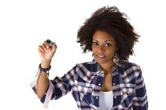 Frau writng etwas Zusammenfassung auf Schirm lizenzfreies stockfoto