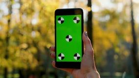 Frau zeigen den grünen Schirm Smartphone im Freien Nahe hohe Frauenhand, die intelligentes Mobiltelefon mit Vertikale hält und ve stock footage