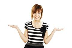 Frau zeigen - zwei geöffnete Hände leeren sich Lizenzfreies Stockfoto