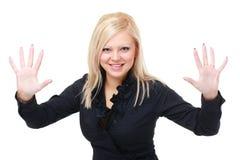Frau zeigt 10 Finger Lizenzfreies Stockbild