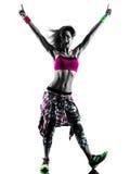 Frau zumba Eignung übt lokalisiertes Schattenbild des Tänzers Tanzen aus Lizenzfreies Stockfoto