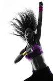 Frau zumba Tänzertanzen übt Schattenbild aus Stockbild