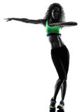 Frau zumba Tänzertanzen übt Schattenbild aus Stockfotografie