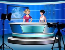 Frau zwei, die über Fernsehnachrichten sitzen in einem Studio berichtet Stockfotos