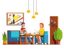 Frau zwei, die das Mittagessen isst und Tee am Café trinkt vektor abbildung