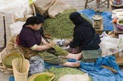 Frau zwei, die Tee bildet stockfotos