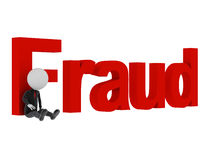 Fraud. 3d man tied with text fraud after committing crime vector illustration