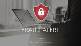 Fraud Alert Caution Defend Guard Notify Protect Concept Stock Image