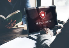 Fraud Alert Caution Defend Guard Notify Protect Concept Royalty Free Stock Photos