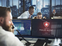 Fraud Alert Caution Defend Guard Notify Protect Concept. Business People Discussing Fraud Alert Caution Defend Guard Notify Protect Royalty Free Stock Photo