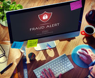 Fraud Alert Caution Defend Guard Notify Protect Concept. People Aware Fraud Alert Caution Defend Guard Notify Protect Royalty Free Stock Images