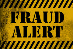 Fraud Alert sign yellow with stripes vector illustration