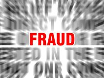 Fraud. Blurred text with focus on royalty free illustration