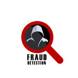 Fraud detection sign and man in hood. Hacker detection sign and man in hood. Fraud investigation vector icon vector illustration