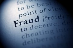 Fraud. Fake Dictionary, Dictionary definition of the word Fraud stock image