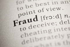 Fraud. Fake Dictionary, Dictionary definition of the word Fraud. including key descriptive words royalty free stock photo
