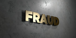Fraud - Gold sign mounted on glossy marble wall  - 3D rendered royalty free stock illustration. This image can be used for an online website banner ad or a Royalty Free Stock Photography