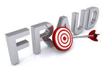 Fraud. Illustrated three dimensional letters saying fraud and target with an arrow hitting bulls eye Royalty Free Stock Photography