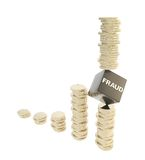 Fraud risk conception as coin piles isolated Royalty Free Stock Image