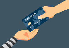 Fraud to identity theft when payment with a credit card. Hand of victim giving a credit card to robber. Illustration about fraud to identity theft when payment stock illustration
