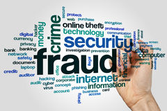 Fraud word cloud. Concept on grey background stock photos