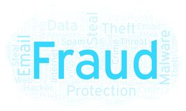 Fraud word cloud. Wordcloud made with text only royalty free illustration