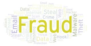 Fraud word cloud. Wordcloud made with text only vector illustration