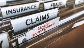 Fraude de la compañía de seguros, demandas falsas bajo investigaciones Imagen de archivo