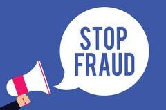 Fraude de la parada de la demostración de la muestra del texto La gente conceptual de los consejos de la campaña de la foto para  ilustración del vector