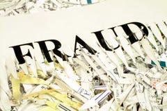 Fraude destrozado del documento Imagen de archivo libre de regalías